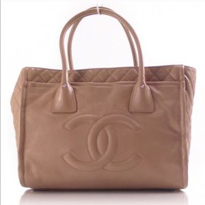 Classic Chanel Tan Leather Bag - 100% Authentic